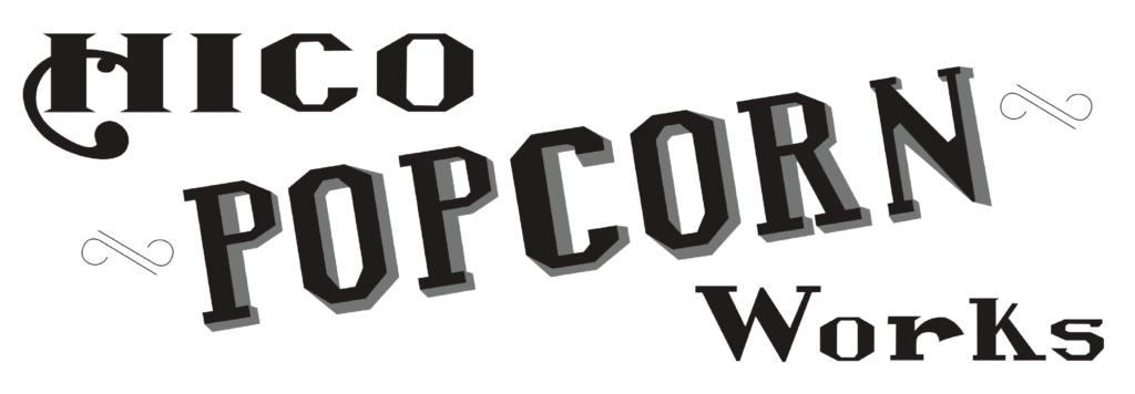 Hico Popcorn Works Logo - white